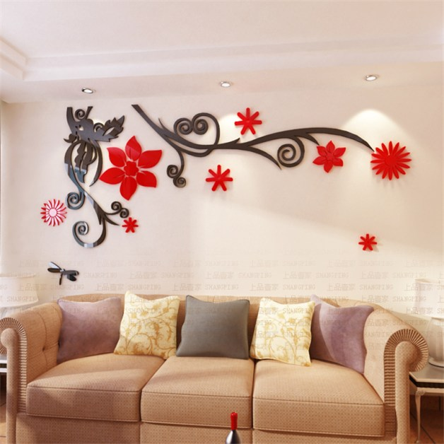 3D-stereo-Flower-vine-Acrylic-Crystal-Wall-stickers-Home-Decor-Diy-Mirror-Wall-sticker-Tree-Living
