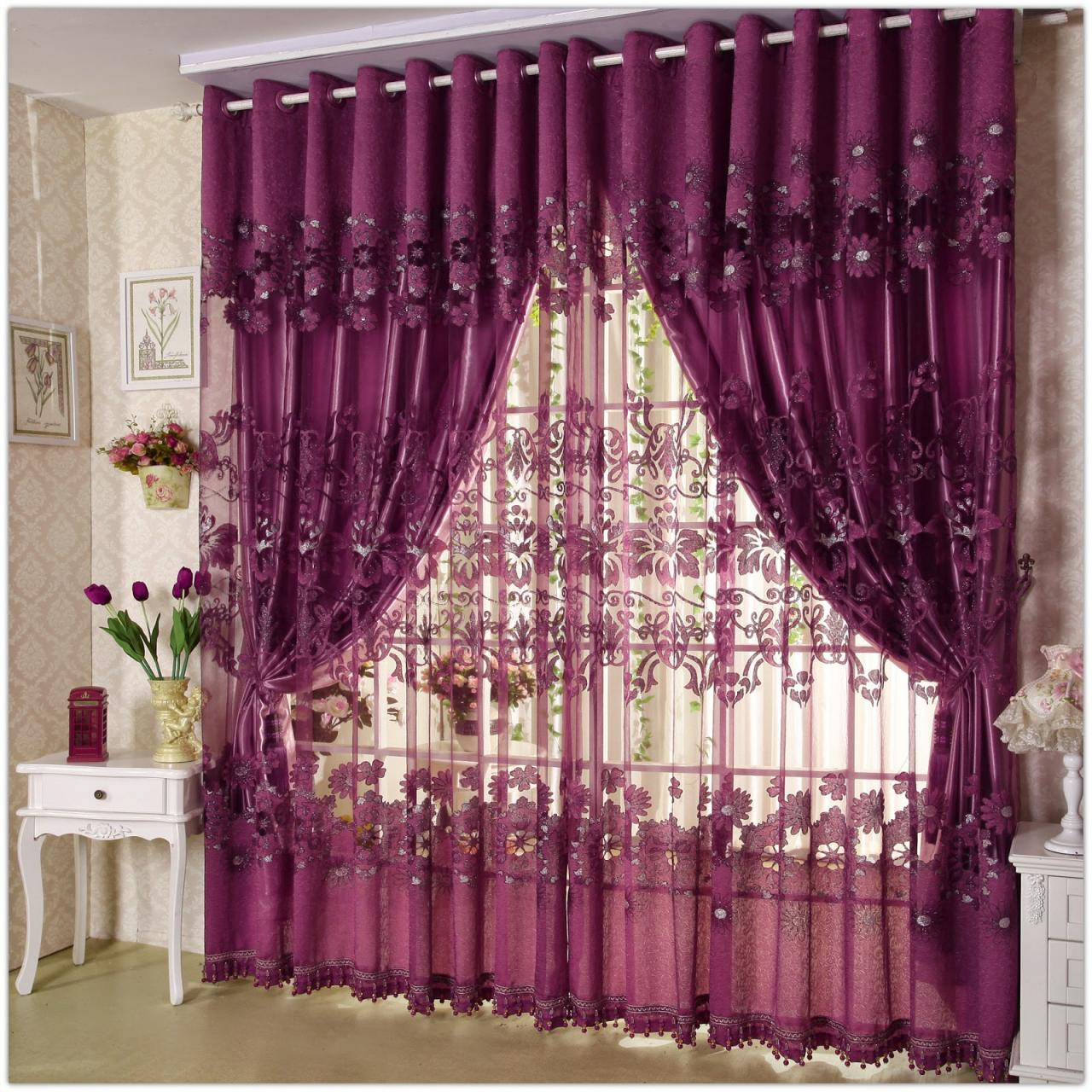 delightful-design-ideas-of-curtain-styles-for-living-room-wiyth-floral-pattern-purple-double-layers-curtains-and-valance-also-combine-with-white-metal-curtain-rod-with-window-drapes-for-living-ro