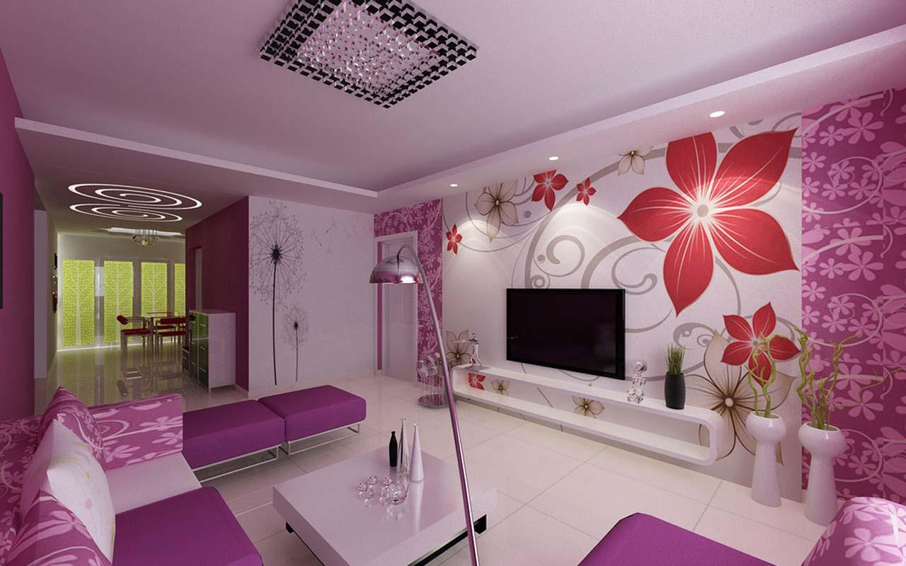 wonderful-design-house-interior-ideas-white-pink-gray-colors-floral-pattern-wall-decals-purple-color-floral-pattern-wallpaper-wall-mount-tv-oval-shape-component-shelf